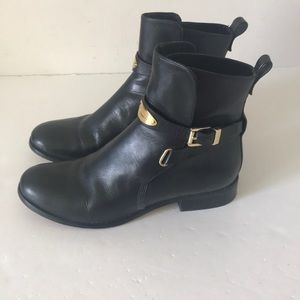 Michael Kors Black Leather Ankle Boots. Size 8.